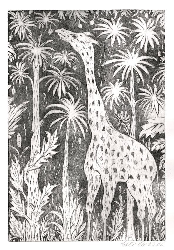 Giraffe (Radierung) | Größe: 26 x 37 cm