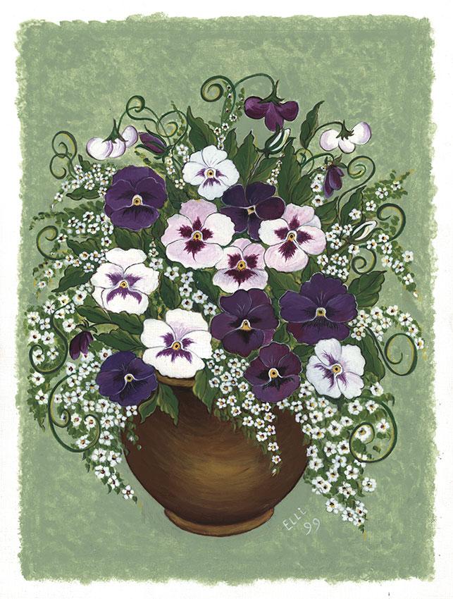 Stiefmütterchen in brauner Vase | Größe: 30 x 40 cm